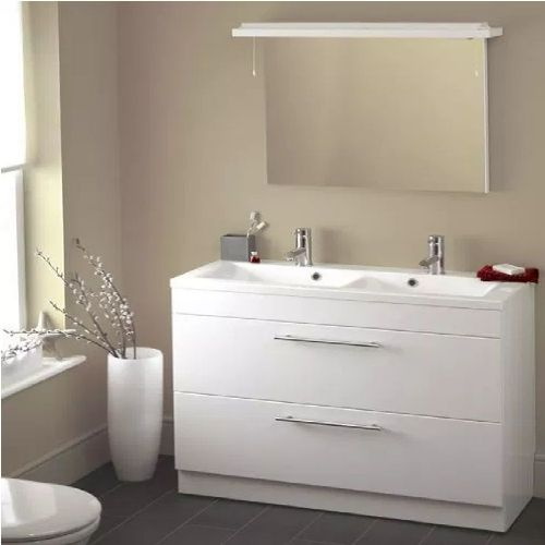 Eastbrook Oslo 2-Drawer Floor Standing Vanity Unit For Double Bowl - 1000mm Wide - High Gloss White